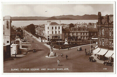 AYR Statue Square & Miller Road Showing Odeon Cinema, RP Postcard Unused