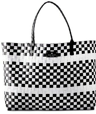 KATE SPADE NEW YORK TOTE purse Handbag Large checkered White Black Braided New