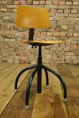 Vintage Workshop Chair Architects Office Chair Swivel Chair Anatomic Wood 60er