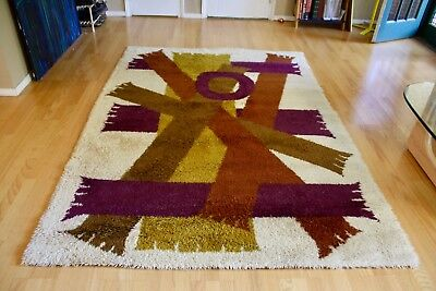 Large Mid-Century Modern Rya Abstract Wool Rug - Scandinavian Hygge Danish Shag