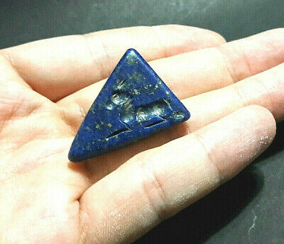 Antique Lapis Pyramid Stone Leaping Deer Long Horn Bead Signet Stamp Pendant