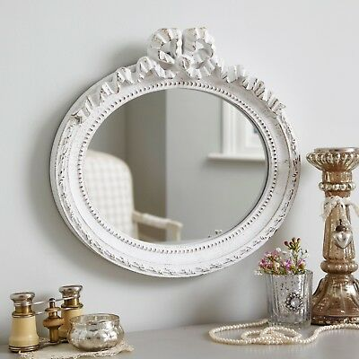 20 x 25cm Wooden Vintage Style Bow Oval Mirror - Antique White