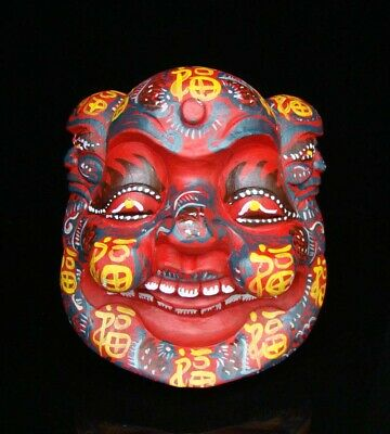 260mm Handmade Carving colored drawing wood Mask Smiling Face Buddha Deco Art