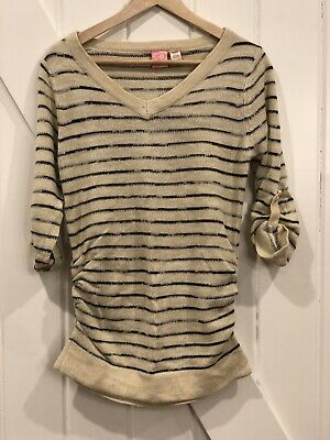 Maternity V-Neck 3/4 Sleeve Button Tab Striped Sweater NWT MED By Maternity Time