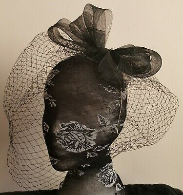 black veil fascinator millinery burlesque wedding hat hair piece race bridal