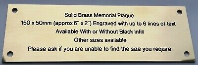 """Solid Brass Polished Engraved Plaque Sign Bench Plate Memorial 6"""" X 2"""" 150x50mm"""