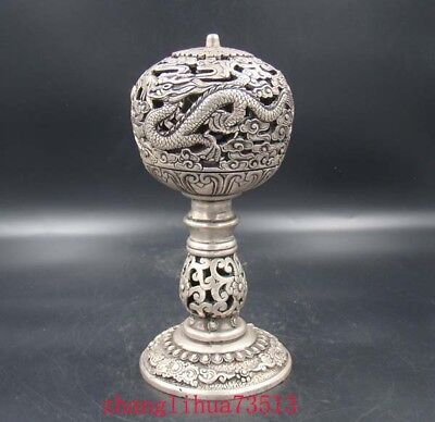 Collectible Handmade Carving Statue Copper Silver dragon Incense Burner