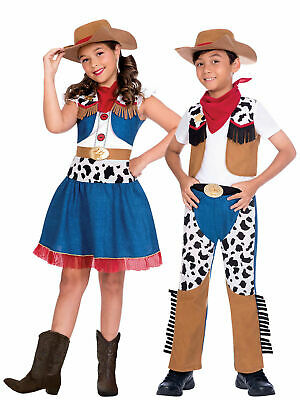 Kids Cowboy Cowgirl Costume Boys Girls World Book Day Story Character Wild West