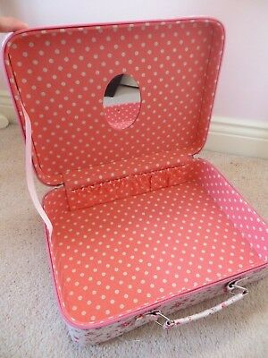 Girls Cath Kidston Pink Floral Oil Cloth Vanity Suitcase with Mirror 32x24x19.5