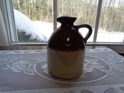 """Antique Stoneware Maple Syrup Jug /PitchersBrown & Tan 4 3/8"""" tall"""