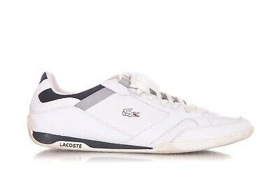ff5c60911 LACOSTE Lace Up Tennis Shoes Size US 13 Men s Leather White Blue Sneakers  Logo