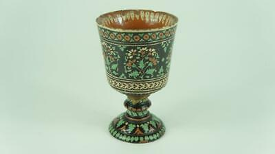 Antique Islamic, Ottoman Pottery Goblet Floral Decoration, Islamic Marks