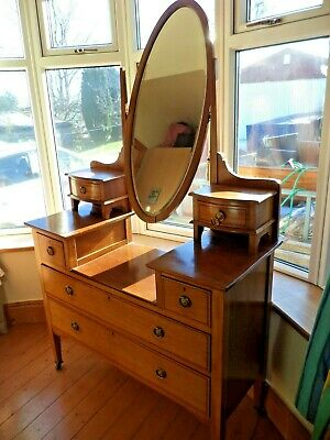 Vintage Oval Swing Mirror Dressing Table With Drawers on Casters