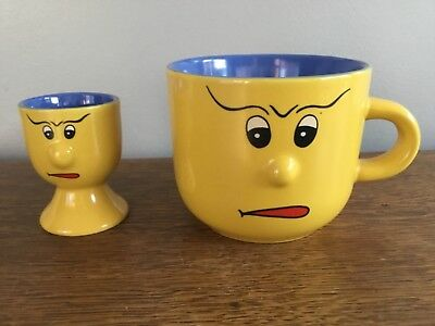 Trade Winds Tableware Face Mug and Egg Cup - Yellow And Blue - Collectable