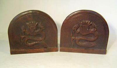 Antique Pair Carved Wood Panels:  Dragon or Serpent:  Walnut  C.1900