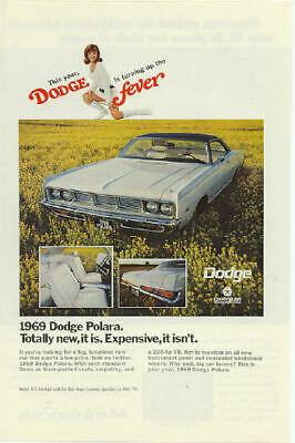 1968 1969 Dodge Coronet 500 Polara 2 Vintage Print Ads Lime Green Woodgrain s
