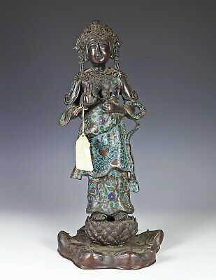 Large Antique Champleve Bronze Statue of Standing Woman on Lotus