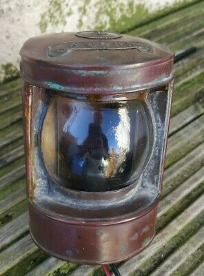 COPPER BRASS ANTIQUE  SHIP'S LAMP by CLOAD PLYMOUTH