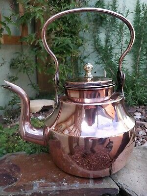 A more Unusual 8 pint  English West Country Goose Neck Copper Tea Kettle C.1810