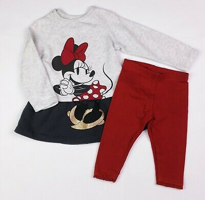 60974fbfe Baby Girls Clothes DISNEY Minnie Mouse Dress & NEXT Leggings Outfit 6-9  Months
