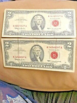 (2) 1963 Two Dollar Note Red Seal ✯$2 Bill ✯US CURRENCY✯OLD MONEY✯FREE SHIPPING