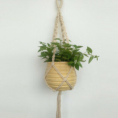 Pot Planter Basket Macrame Plant Hanging Rope Braided Home Useful Decoration