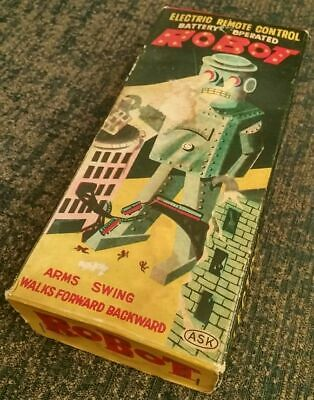 Electric Remote Control Battery Operated R-35 Wood Robot Kit 1950s Japan Box ASK