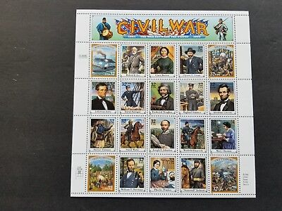 US Scott # 2975. Civil War 20 different designs stamp sheet. MNH