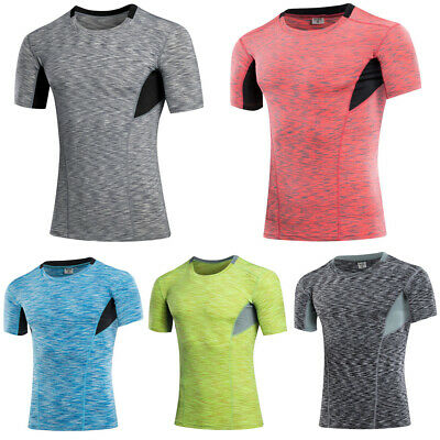 Mens Quick Dry Elastic Athletic Tops Fitness Training Tight Short Sleeve T-Shirt