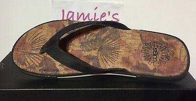 b5520c472 UGG BENNISON II Hawaiian Cork Men NUBUCK LEATHER Asphalt Black FLIP FLOPS  Sandal