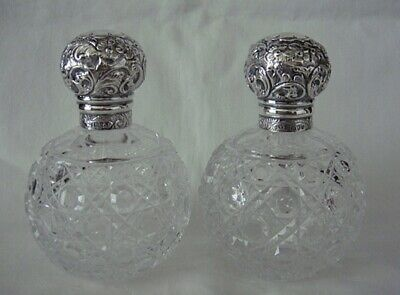 Vintage Pair Scent Perfume Bottles - Cut Glass and Sterling