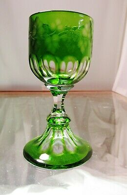 Fine Quality Green To Clear Engraved And Cut Glass Wine On Petticoat Foot