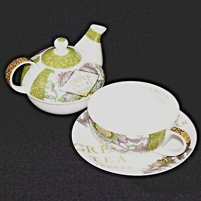 Tea Pot Mug Green Hat Box Matching Bone China Set Paula Scaletta Design Set NEW