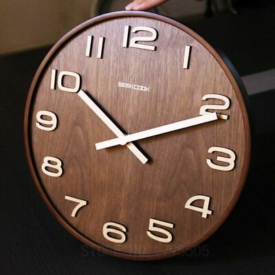 14 Inch Simple Design Bamboo Wall Clock Needle Antique Styles Single Face Clocks
