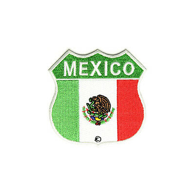 """Mexico Flag Shield Iron On Patch 3"""" Embroidered Mexican Flag FAST USA SHIPPING"""