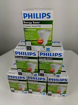 6 Pack of Philips EL/A 15W R30 CFL Compact Fluorescent Flood Light Bulbs