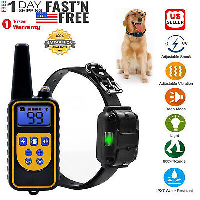 Waterproof Pet Dog Training Collar Electric Shock LCD Rechargeable Remote 2625FT