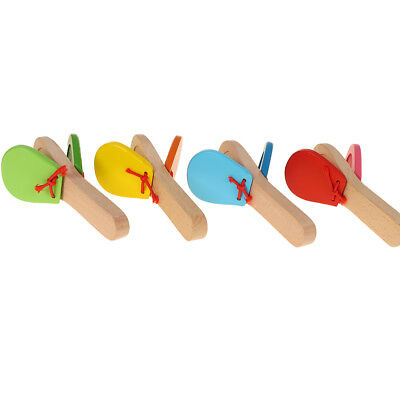 Wooden Castanet Clapper Handle Musical Instrument Toy Kid Early Educational Toy