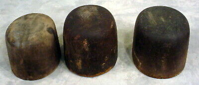 Lot Of 3 -Antique  Wooden Hat Molds -Industrial-Millinery-Vintage
