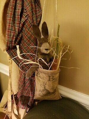 Primitive Bunny Rabbit In Vintage Sack with carrot