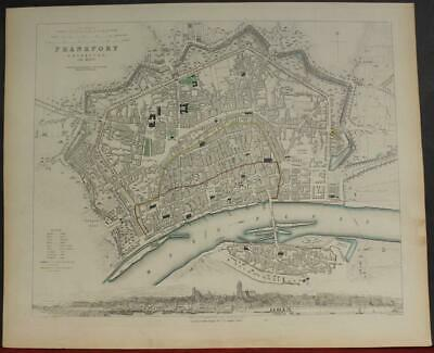 Frankfurt An Main Germany 1837 Sduk Antique Original Steel Engraved City Map