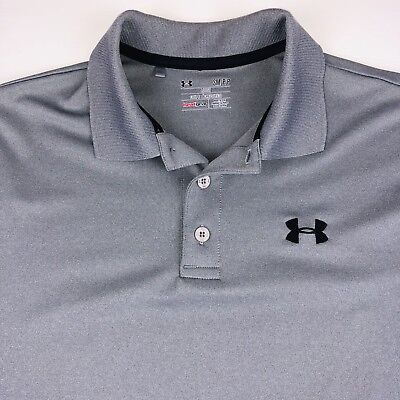0a03172b Under Armour Mens Heat Gear Loose Fit Polo Golf Shirt Size Small Gray