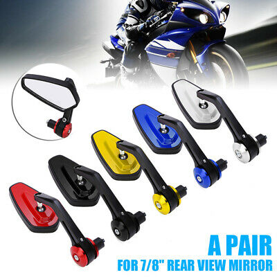 """2x Universal Motorcycle 7/8"""" 22mm Aluminum Rear View Side Mirror Handle Bar End"""