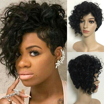 Short Curly Bob Wave Black Heat Wig Resistant Natural Softer Wigs For Woman Lady