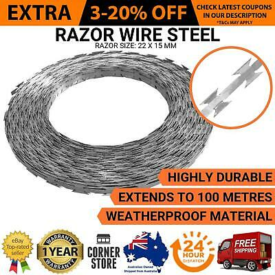 100m Home Burglar Proof Coiled Fence Security Razor Blade Barbed Steel Wire Roll
