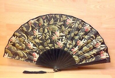 "Antique ""Fuchsia"" Painted Fabric Hand Fan."