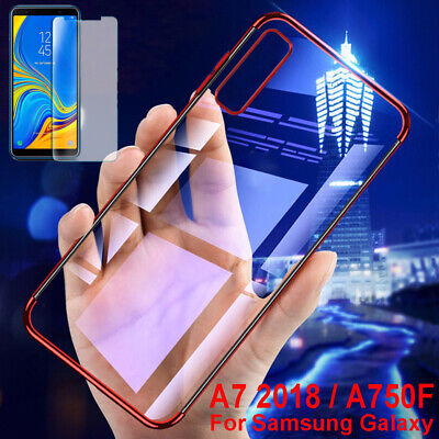 For Samsung Galaxy A7 2018 Clear TPU Plating Protect Case Cover + Tempered Glass