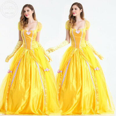 Belle Cosplay Costume Adult Beauty and The Beast Princess Vintage Fancy Dress