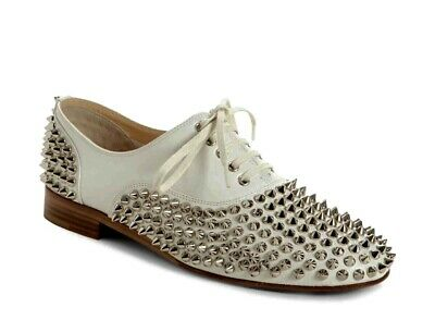 75e08719731 NEW 41 CHRISTIAN Louboutin Freddy White Leather Spiked Loafer Flat Nappa
