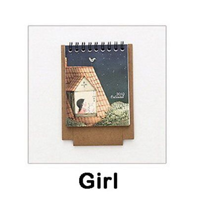 2019 Year New Cute Girl DIY Cartoon Mini Desktop Paper Calendar Daily Scheduler